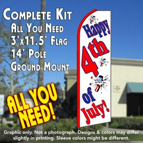 HAPPY 4th OF JULY (White) Flutter Feather Banner Flag Kit (Flag, Pole, & Ground Mt)
