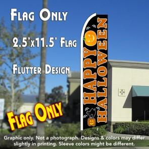 HAPPY HALLOWEEN (Black) Flutter Feather Banner Flag (11.5 x 2.5 Feet)