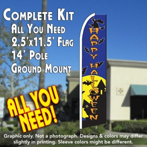 HAPPY HALLOWEEN (Blue) Flutter Feather Banner Flag Kit (Flag, Pole, & Ground Mt)
