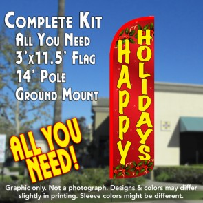 Happy Holidays (Red) Windless Feather Banner Flag Kit (Flag, Pole, & Ground Mt)