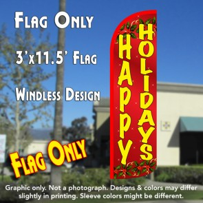 Happy Holidays (Red) Windless Polyknit Feather Flag (3 x 11.5 feet)