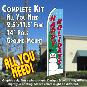 HAPPY HOLIDAYS (Snowman) Flutter Feather Banner Flag Kit (Flag, Pole, & Ground Mt)