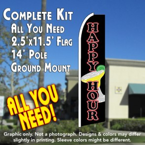 HAPPY HOUR (Black) Flutter Feather Banner Flag Kit (Flag, Pole, & Ground Mt)