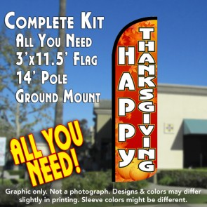 Happy Thanksgiving Windless Feather Banner Flag Kit (Flag, Pole, & Ground Mt)