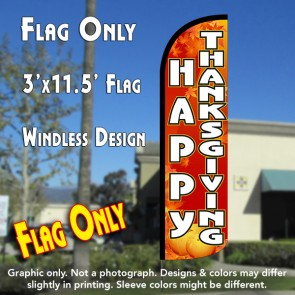 Happy Thanksgiving Windless Polyknit Feather Flag (3 x 11.5 feet)