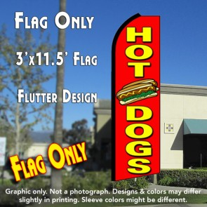 HOT DOGS (Red) Flutter Feather Banner Flag (11.5 x 3 Feet)