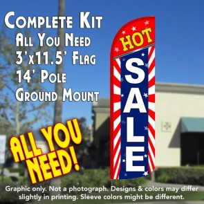 Hot Sale (Starburst) Windless Feather Banner Flag Kit (Flag, Pole, & Ground Mt)