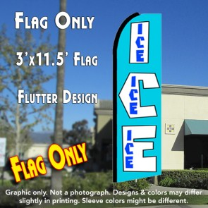 ICE (Blue) Flutter Feather Banner Flag (11.5 x 3 Feet)