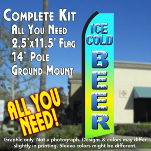 ICE COLD BEER (Blue Gradient) Flutter Feather Banner Flag Kit (Flag, Pole, & Ground Mt)