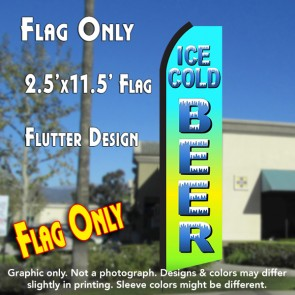 ICE COLD BEER (Blue Gradient) Flutter Polyknit Feather Flag (11.5 x 2.5 feet)
