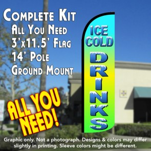 Ice Cold Drinks Windless Feather Banner Flag Kit (Flag, Pole, & Ground Mt)