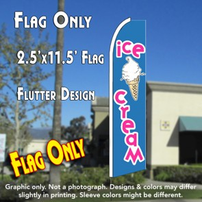 ICE CREAM (Blue/Pink) Flutter Feather Banner Flag (11.5 x 2.5 Feet)