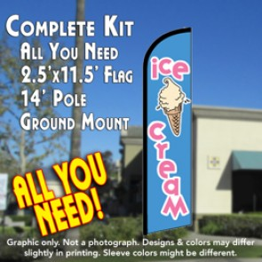 ICE CREAM (Blue) Windless Feather Banner Flag Kit (Flag, Pole, & Ground Mt)
