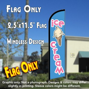 ICE CREAM (Blue) Windless Feather Banner Flag (2.5 x 11.5 Feet)