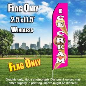 Ice Cream (Pink/Cones) Windless Polyknit Feather Flag (3 x 11.5 feet)