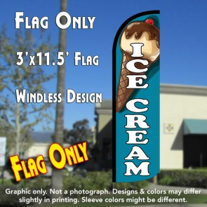 Ice Cream (Teal) Windless Polyknit Feather Flag (3 x 11.5 feet)