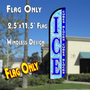 ICE Cubes Blocks Windless Polyknit Feather Flag (2.5 x 11.5 feet)