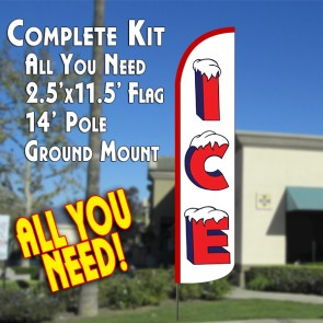 ICE (WHITE/RED) WINDLESS ADVERTISING FLAG FLUTTER BANNER KIT (FLAG, POLE, & GROUND MT)