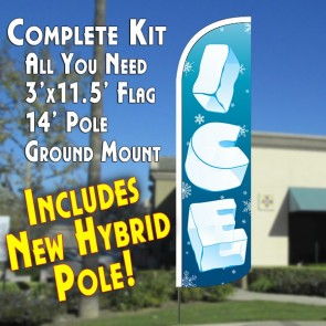 ICE WINDLESS ADVERTISING KIT FLUTTER BANNER KIT (FLAG, POLE, & GROUND MT)