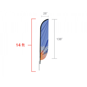 Custom Feather Convex Flag (Large)14ft tall
