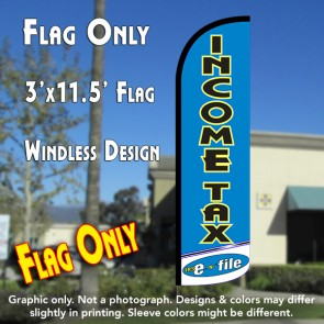 Income Tax e-file (Light Blue/White) Windless Polyknit Feather Flag (3 x 11.5 feet)