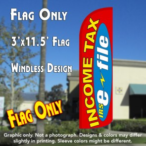 Income Tax e-file (Red/Yellow) Windless Polyknit Feather Flag (3 x 11.5 feet)