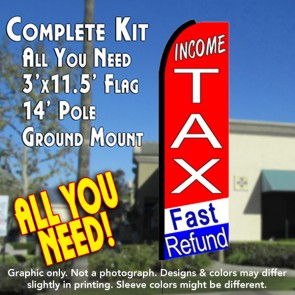 INCOME TAX FAST REFUND (tri-color) Flutter Feather Banner Flag Kit (Flag, Pole, & Ground Mt)