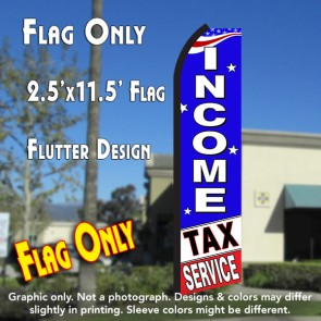 INCOME TAX SERVICE (Blue/White) Flutter Polyknit Feather Flag (11.5 x 2.5 feet)