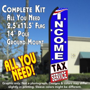 INCOME TAX SERVICE (Blue/White) Flutter Feather Banner Flag Kit (Flag, Pole, & Ground Mt)