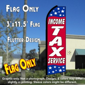 INCOME TAX SERVICE (Red/Stars) Flutter Feather Banner Flag (11.5 x 3 Feet)