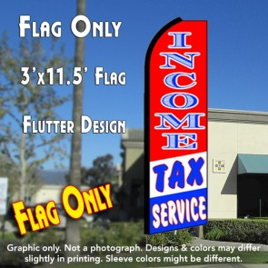 INCOME TAX SERVICE (RWB) Flutter Feather Banner Flag (11.5 x 3 Feet)