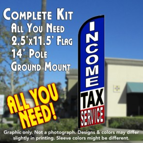 INCOME TAX SERVICE (RWB) Windless Feather Banner Flag Kit (Flag, Pole, & Ground Mt)