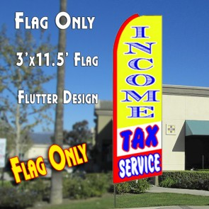 INCOME TAX SERVICE (Yellow/Red) Flutter Feather Banner Flag (11.5 x 3 Feet)