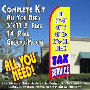 INCOME TAX SERVICE (Yellow/Red) Flutter Feather Banner Flag Kit (Flag, Pole, and Ground Mount)