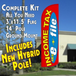 Income Tax e-file (Red/Yellow) Windless Feather Banner Flag Kit (Flag, Pole, & Ground Mt)