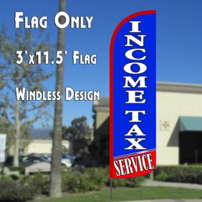 Income Tax Service (Blue/Red) Windless Feather Banner Flag Kit (Flag, Pole, & Ground Mt)
