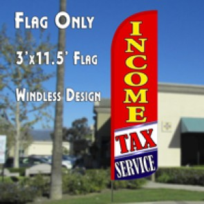 Income Tax Service (Red/White/Blue) Windless Feather Banner Flag Kit (Flag, Pole, & Ground Mt)