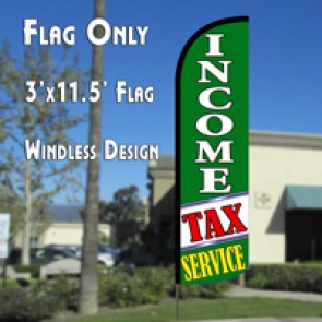 Income Tax Service (Green/White) Windless Polyknit Feather Flag (3 x 11.5 feet)