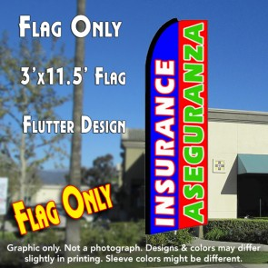 INSURANCE/ASEGURANZA (Blue/Red/Green) Flutter Feather Banner Flag