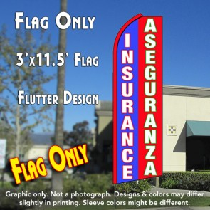 INSURANCE/ASEGURANZA (Blue/Red/White) Flutter Feather Banner Flag