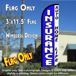 Insurance Auto, Home, Life (Blue/White) Windless Polyknit Feather Flag