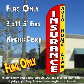 Insurance Auto, Home, Life (Red/Yellow) Windless Polyknit Feather Flag