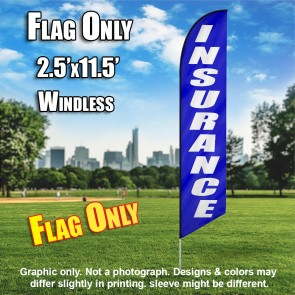 INSURANCE blue white windless flag