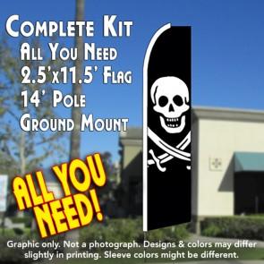 JACK RACKHAM (Swords) PIRATE Flutter Feather Banner Flag Kit (Flag, Pole, & Ground Mt)