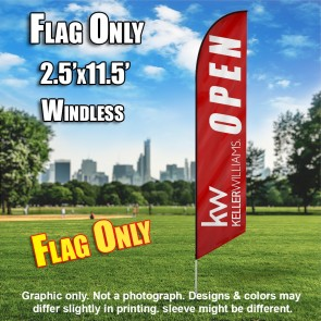 Keller Williams Open burgundy white windless  Feather Banner Flag