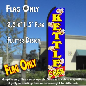 KETTLE CORN (Blue/Yellow) Flutter Polyknit Feather Flag (11.5 x 2.5 feet)