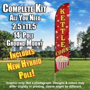 KETTLE CORN (Red) Flutter Feather Banner Flag Kit (Flag, Pole, & Ground Mt)