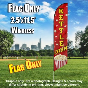KETTLE CORN (Red) Flutter Feather Banner Flag (11.5 x 2.5 Feet)