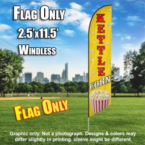 KETTLE CORN (Yellow/Red) Flutter Feather Banner Flag (11.5 x 2.5 Feet)