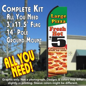 LARGE PIZZA (Fresh Hot) $5 Flutter Feather Banner Flag Kit (Flag, Pole, & Ground Mt)